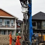 Geothermal Drilling at Woodland Creek, Built Green affordable homes in Sooke